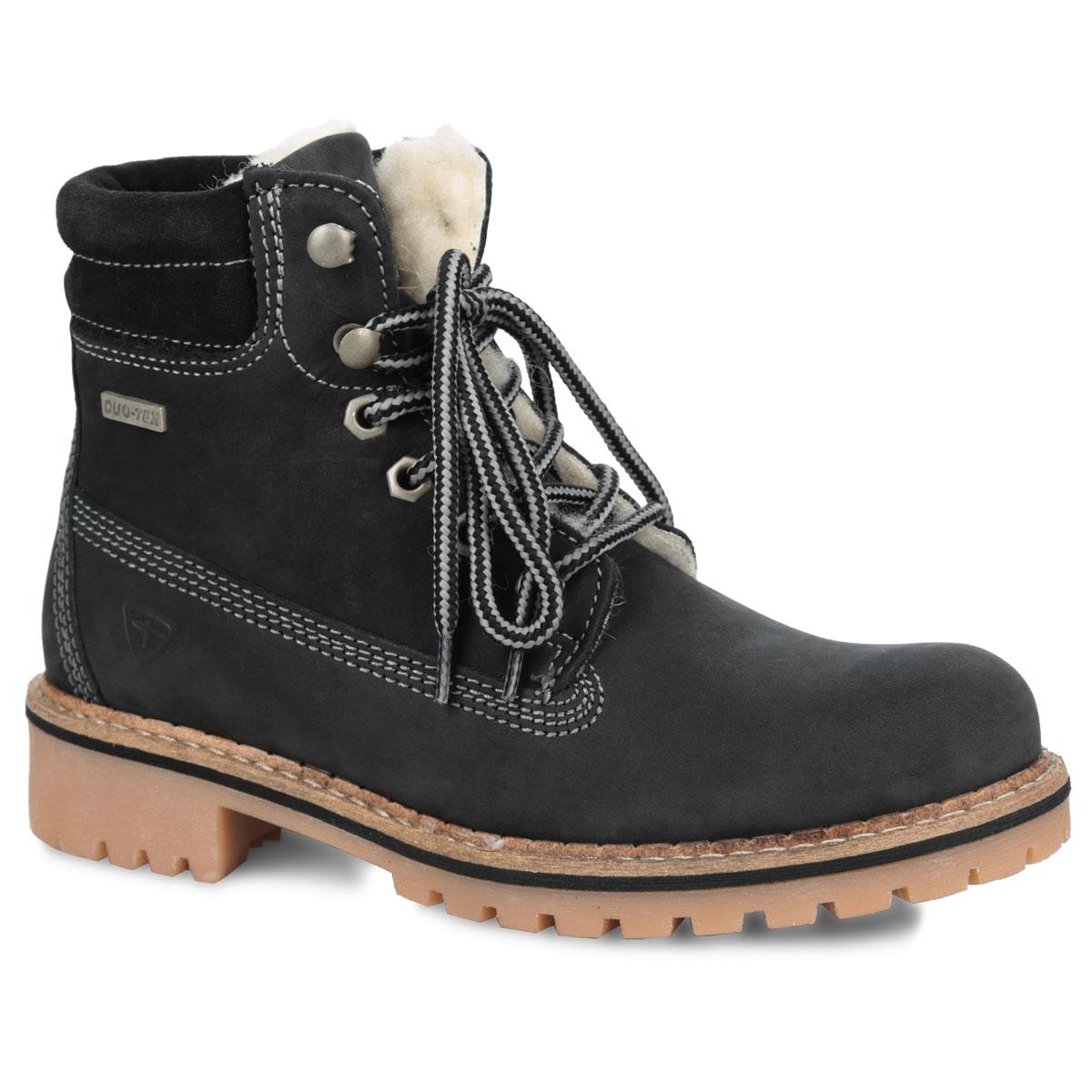 Ботинки женские. 1-1-26244-25-0011-1-26244-25-001Стильные женские ботинки от Tamaris надежно защитят вас от холода. Верх выполнен из натуральной кожи и оформлен прострочкой. Подкладка и стелька изготовлены из мягкого меха, позволяющего сохранять ваши ноги в тепле. Шнуровка надежно фиксирует модель на ноге. Подошва с рельефной поверхностью обеспечивает отличное сцепление на скользкой поверхности. Модель оформлена вдоль ранта крупной прострочкой. Такие ботинки отлично подойдут для каждодневного использования и подчеркнут ваш стиль и индивидуальность.