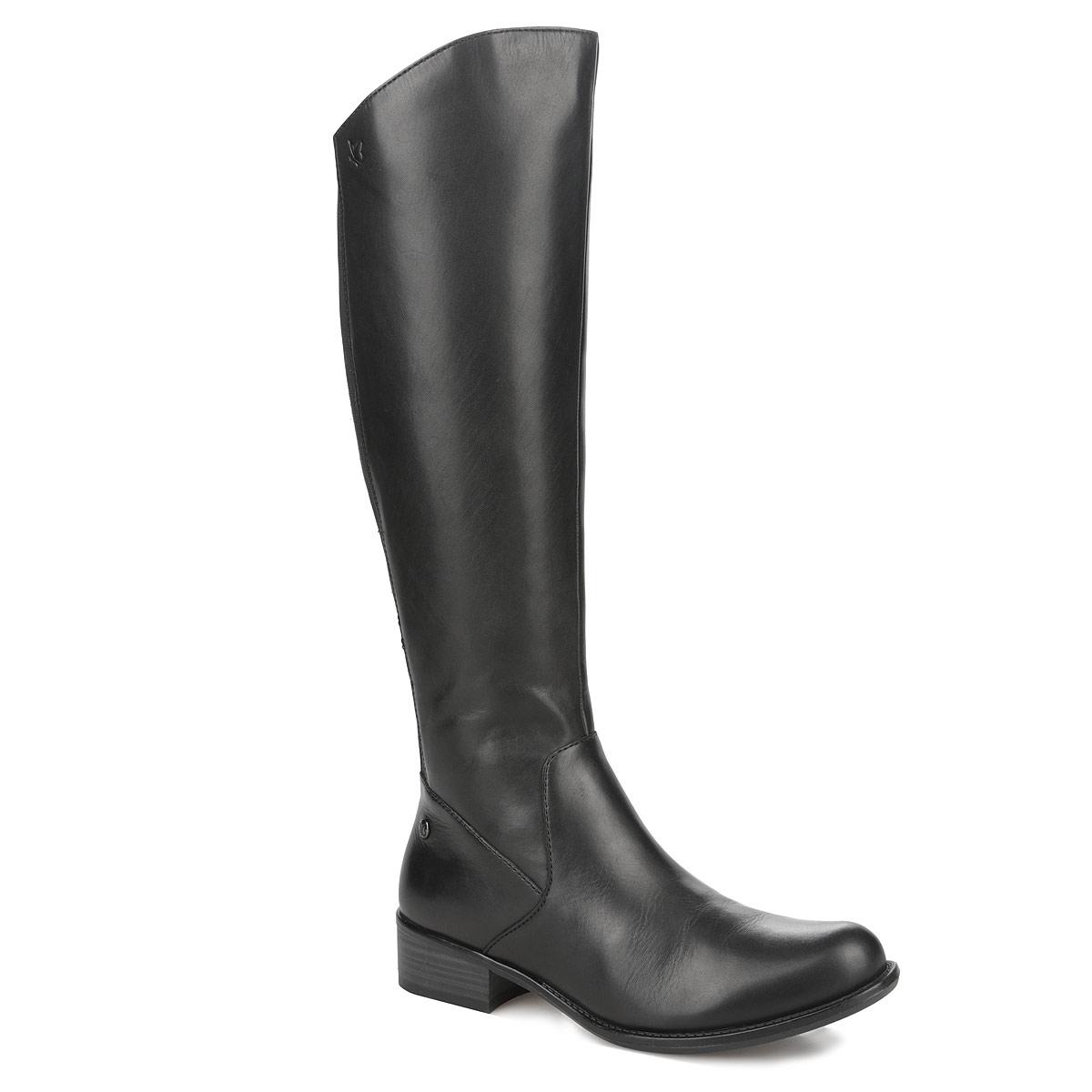 Сапоги женские. 9-9-25503-259-9-25503-25-001Стильные женские сапоги от Сарriсе не оставят равнодушной настоящую модницу! Верх выполнен из натуральной кожи. Вдоль задней части голенища расположены две стрейчевые вставки, которые гарантируют оптимальную посадку обуви на ноги. Вкладная стелька и подкладка выполнены из мягкого текстиля. Сапоги застегиваются на боковую застежку-молнию. Резиновая подошва с рельефной поверхностью обеспечивает отличное сцепление на скользкой поверхности. Низкий каблук удобен при ходьбе. Такие модные сапоги отлично подчеркнут ваш стиль и индивидуальность.
