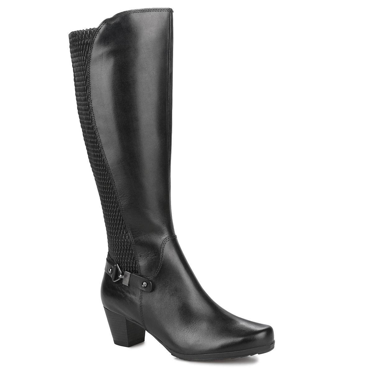 Сапоги женские. 9-9-25527-25-0019-9-25527-25-001Стильные женские сапоги от Сарriсе не оставят равнодушной настоящую модницу! Верх выполнен из натуральной кожи. Модель оформлена декоративным ремешком. Вдоль боковой части голенища расположена декоративная синтетическая вставка, которая обеспечивает оптимальную посадку обуви на ноги. Голенища с технологией XL Shaft - зауженное. Вкладная стелька OnAir из текстиля регулирует воздухообмен и гарантирует снижение давления на стопу. Подкладка выполнена из приятного на ощупь текстиля. Сапоги застегиваются на боковую застежку-молнию. Резиновая подошва с рельефной поверхностью обеспечивает отличное сцепление на скользкой поверхности. Средний каблук удобен при ходьбе. Такие модные сапоги отлично подчеркнут ваш стиль и индивидуальность.