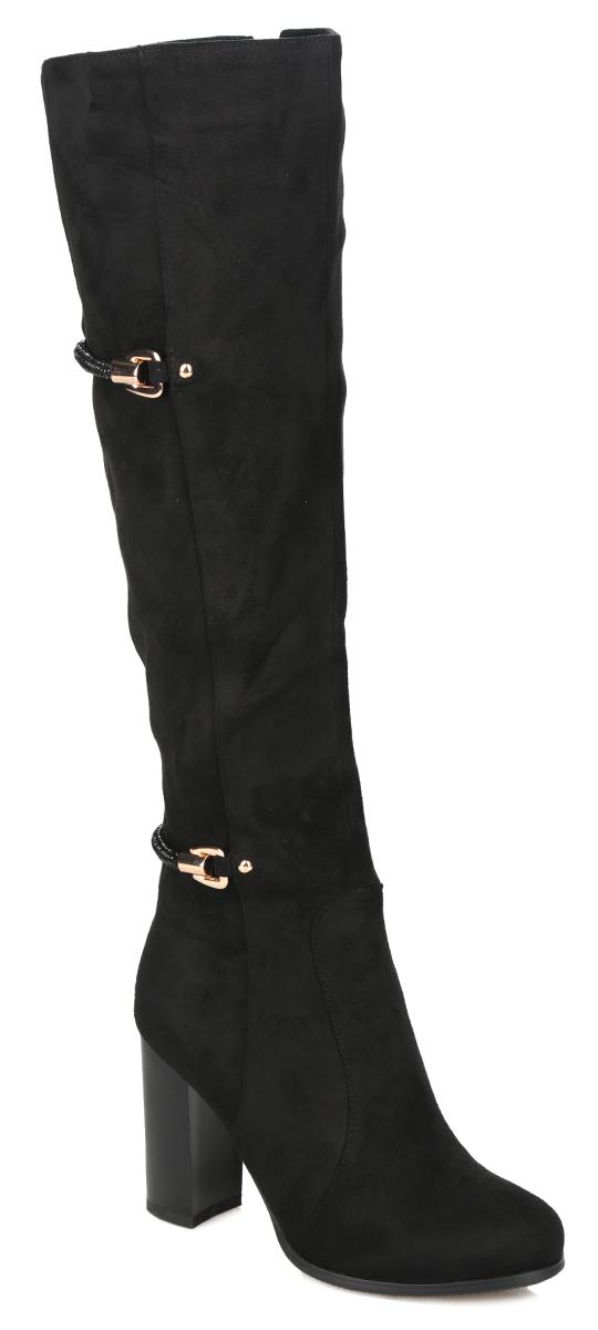 Сапоги женские. 60045-01-1AB60045-01-1ABСтильные женские сапоги от Inario не оставят равнодушной настоящую модницу! Модель изготовлена из искусственного велюра. Подкладка и стелька - из байки, защитят ноги от холода и обеспечат комфорт. Декоративные ремни, дополненные мелкими стразами, а также декоративным металлическим элементом сбоку, украшают изделие в области щиколотки и голенища. Сапоги застегиваются на застежку-молнию. Каблук, стилизованный под дерево, устойчив. Подошва из полимера с рельефным протектором обеспечивает отличное сцепление на любой поверхности. Модные сапоги покорят вас своим оригинальным дизайном и удобством!