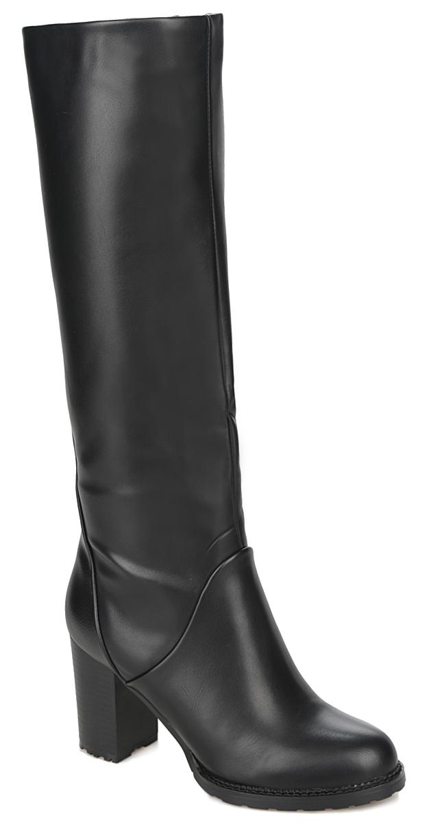 Сапоги женские. 60187-01-1B60187-01-1BСтильные женские сапоги от Inario - идеальное решение на каждый день. Модель изготовлена из искусственной гладкой кожи. Подкладка и стелька из байки защитят ноги от холода и обеспечат комфорт. Задняя часть изделия декорирована вставкой из фактурной кожи. Закругленный носок смотрится невероятно женственно. Невысокий каблук устойчив. Сапоги застегиваются на застежку-молнию, расположенную на одной из боковых сторон. Подошва из полимера с рельефным протектором обеспечивает отличное сцепление на любой поверхности. Модные сапоги покорят вас своим оригинальным дизайном и удобством!
