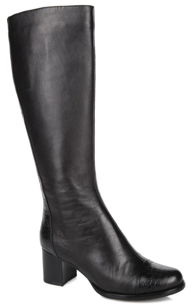 Сапоги женские . RW4E39-05-01-01BRW4E39-05-01-01BОригинальные женские сапоги от Palazzo Doro не оставят равнодушной настоящую модницу! Модель изготовлена из натуральной кожи. Внутренняя часть и стелька - из байки, защитят ноги от холода и обеспечат комфорт. Мыс изделия и вся задняя часть дополнены кожаной вставкой с декоративным тиснением под рептилию. Закругленный носок смотрится невероятно женственно. Умеренной высоты каблук устойчив. Сапоги застегиваются на застежку-молнию, расположенную на одной из боковых сторон. Подошва из тунита с рельефным протектором обеспечивает отличное сцепление на любой поверхности. Модные сапоги покорят вас своим оригинальным дизайном и удобством!