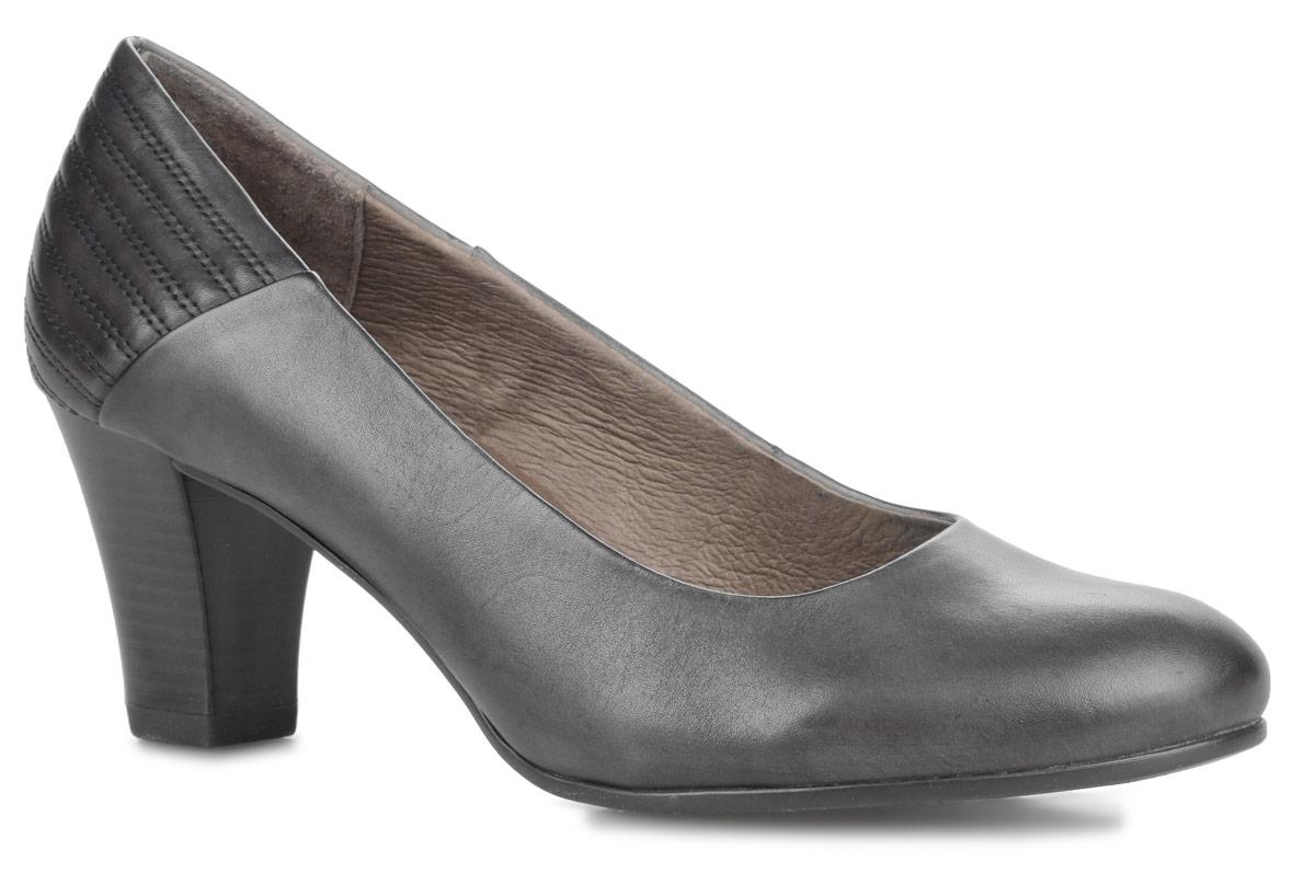 Туфли женские. 9-22403-259-22403-25-001Элегантные женские туфли от Caprice - отличный вариант на каждый день. Модель выполнена из натуральной кожи и декорирована на задней поверхности узором в полоску. Закругленный носок добавит женственности в ваш образ. Стелька OnAir регулирует воздухообмен и гарантирует снижение давления на стопу. Невысокий каблук устойчив. Подошва с рифленым протектором не скользит. Изысканные туфли покорят вас своим удобством.