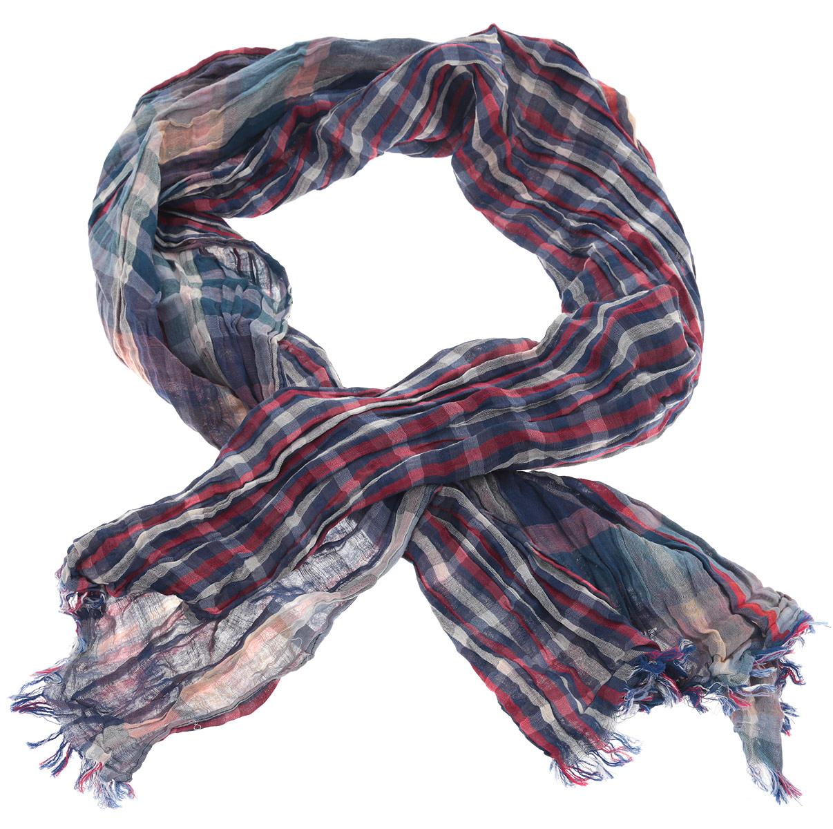 Шарф мужской. CT20013LB-01blueCT20013LB-01blueОригинальный и стильный шарф выполнен из 100% хлопка и украшен актуальным принтом в клетку тартан. Модель дополнена металлическим элементом с логотипом бренда. Великолепный мужской шарф Laura Biagiotti сочетает в себе вечную классику и современные тренды.