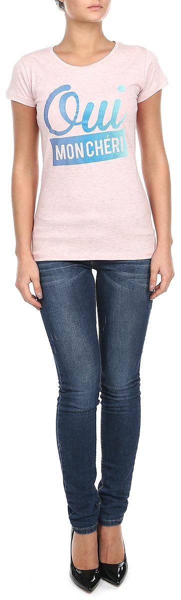 Z-TS-1811_NAVY MELСтильная женская футболка Moodo, выполненная из хлопка с добавлением полиэстера, прекрасно подойдет для повседневной носки. Материал очень мягкий и приятный на ощупь, не сковывает движения и позволяет коже дышать. Футболка слегка приталенного кроя с короткими рукавами имеет круглый вырез горловины, дополненный трикотажной резинкой. Изделие оформлено оригинальными принтовыми надписями. Такая модель будет дарить вам комфорт в течение всего дня и станет модным дополнением к вашему гардеробу.