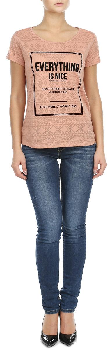 Футболка женская. 1032408.00.711032408.00.71Стильная женская футболка будет прекрасным дополнением к вашему гардеробу. Изготовлена из тонкого трикотажа, очень приятного на ощупь. Модель имеет круглый вырез горловины. В плечевых швах закреплена дополнительная атласная лямка, проходящая по спине, которая предотвращает растяжение горловины при носке. Спереди футболка украшена принтовыми надписями. Эта футболка отлично дополнит ваш образ и позволит выделиться из толпы.