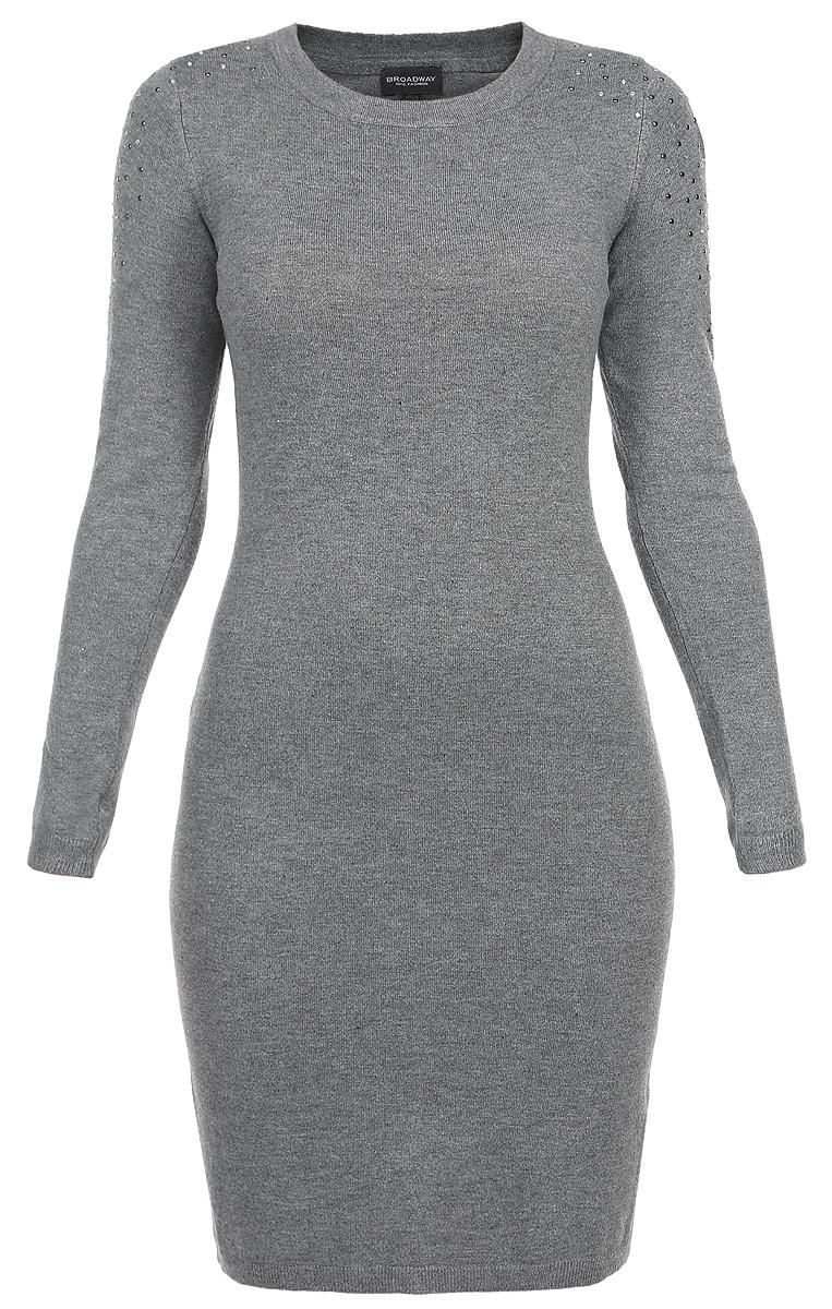 Платье. 1015312910153129 833Стильное трикотажное платье Broadway, выполненное из высококачественного материала, будет отлично на вас смотреться. Модель полуоблегающего кроя с длинными рукавами и круглым вырезом горловины. Вырез горловины, манжеты и низ кофты выполнены вязкой резинка. Плечо и верхняя часть рукава оформлены стразами и металлическими клепками. Классический покрой, лаконичный дизайн, безукоризненное качество. Идеальный вариант для тех, кто ценит комфорт и качество.