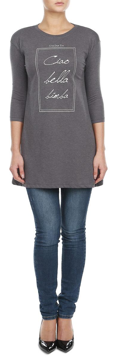 Футболка с длинным рукавом женская. Z-TS-1812Z-TS-1812_GRAPHITE MELОригинальная женская футболка с длинным рукавом Moodo, изготовленная из хлопка с добавлением полиэстера, идеально подойдет для повседневной носки. Материал очень мягкий и приятный на ощупь, не сковывает движения и позволяет коже дышать. Удлиненная футболка с рукавами 3/4 имеет круглый вырез горловины, дополненный трикотажной резинкой. Изделие трапециевидного кроя оформлено принтовыми надписями. Такая модель будет дарить вам комфорт в течение всего дня и станет модным дополнением к вашему гардеробу.