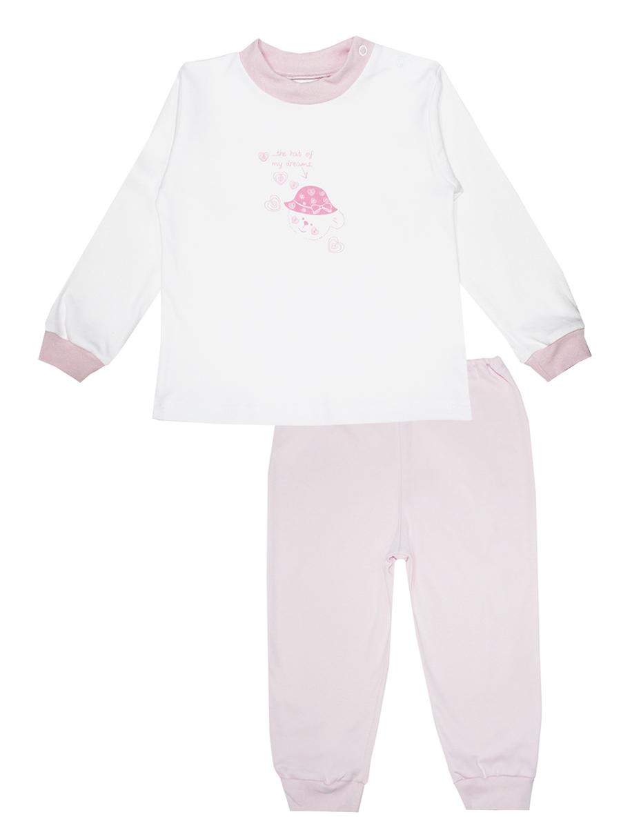 3274Детская пижама КотМарКот Мишка в шляпе, состоящая из футболки с длинным рукавом и брюк, идеально подойдет вашему ребенку и станет отличным дополнением к его гардеробу. Выполненная из натурального хлопка, она необычайно мягкая и легкая, не сковывает движения, позволяет коже дышать и не раздражает даже самую нежную и чувствительную кожу ребенка. Футболка с длинными рукавами и круглым вырезом горловины имеет застежки-кнопки по плечевому шву, что помогает с легкостью переодеть ребенка. Вырез горловины и манжеты на рукавах дополнены трикотажными эластичными резинками. Модель оформлена нежным принтом с изображением медвежонка, а также надписью. Брюки прямого кроя на талии имеют эластичную резинку, благодаря чему они не сдавливают животик ребенка и не сползают. Низ брючин дополнен широкими трикотажными манжетами. В такой пижаме ваш ребенок будет чувствовать себя комфортно и уютно во время сна.