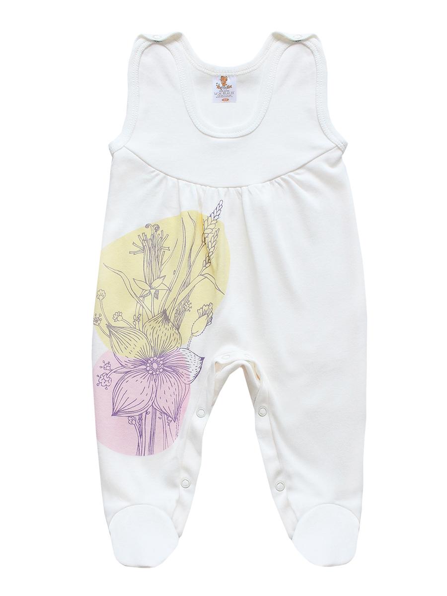 Ползунки с грудкой для девочки. 33833383Ползунки с грудкой для девочки КотМарКот - очень удобный и практичный вид одежды для малышки. Ползунки выполнены из интерлока - натурального хлопка, благодаря чему они необычайно мягкие и приятные на ощупь, не раздражают нежную кожу ребенка и хорошо вентилируются, а эластичные швы приятны телу младенца и не препятствуют его движениям. Ползунки с закрытыми ножками имеют застежки-кнопки на плечах и на ластовице, которые помогают легко переодеть ребенка или сменить подгузник. Изделие оформлено цветочным принтом. Ползунки с грудкой подходят для ношения с подгузником и без него, они полностью соответствуют особенностям жизни младенца в ранний период, не стесняя и не ограничивая его в движениях!