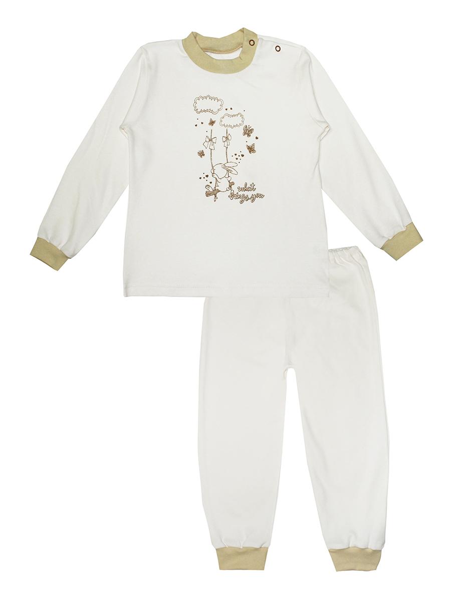 Пижама3286Детская пижама КотМарКот Зайка на качелях, состоящая из футболки с длинным рукавом и брюк, идеально подойдет вашему ребенку и станет отличным дополнением к его гардеробу. Выполненная из натурального хлопка, она необычайно мягкая и легкая, не сковывает движения, позволяет коже дышать и не раздражает даже самую нежную и чувствительную кожу ребенка. Футболка с длинными рукавами и круглым вырезом горловины имеет застежки-кнопки по плечевому шву, что помогает с легкостью переодеть ребенка. Вырез горловины и манжеты на рукавах дополнены трикотажными эластичными резинками. Модель спереди оформлена принтом с изображением зайки на качелях, а также надписью. Брюки прямого кроя на талии имеют эластичную резинку, благодаря чему они не сдавливают животик ребенка и не сползают. Низ брючин дополнен широкими трикотажными манжетами. В такой пижаме ваш ребенок будет чувствовать себя комфортно и уютно во время сна.