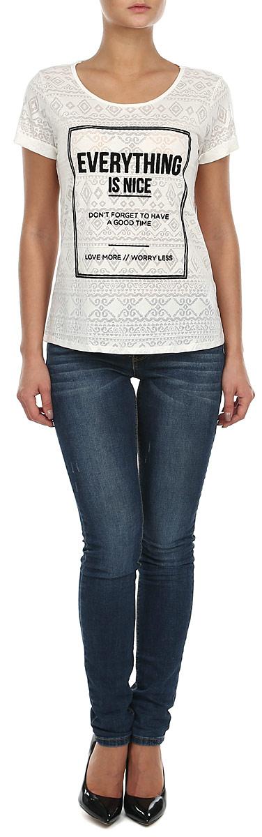 1032408.00.71Стильная женская футболка будет прекрасным дополнением к вашему гардеробу. Изготовлена из тонкого трикотажа, очень приятного на ощупь. Модель имеет круглый вырез горловины. В плечевых швах закреплена дополнительная атласная лямка, проходящая по спине, которая предотвращает растяжение горловины при носке. Спереди футболка украшена принтовыми надписями. Эта футболка отлично дополнит ваш образ и позволит выделиться из толпы.