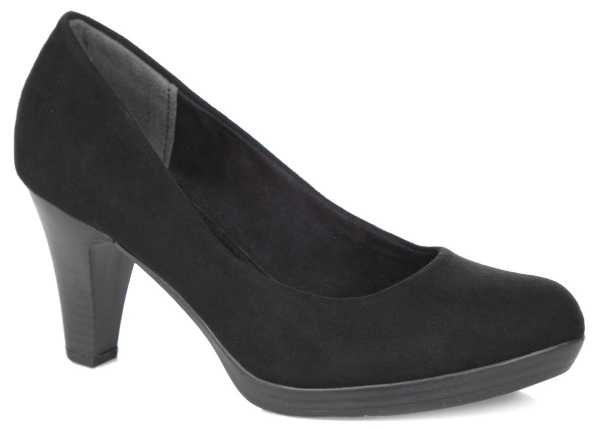 2-2-22411-35-001Элегантные женские туфли от Marco Tozzi займут достойное место в вашем гардеробе. Модель выполнена из высококачественного текстиля и исполнена в лаконичном стиле. Закругленный носок добавит женственности в ваш образ. Мягкая стелька - из искусственной кожи и подкладка - из текстиля, обеспечивают максимальный комфорт при движении. Высокий каблук устойчив. Подошва с рифлением защищает изделие от скольжения. Изысканные туфли добавят шика в модный образ и подчеркнут ваш безупречный вкус.