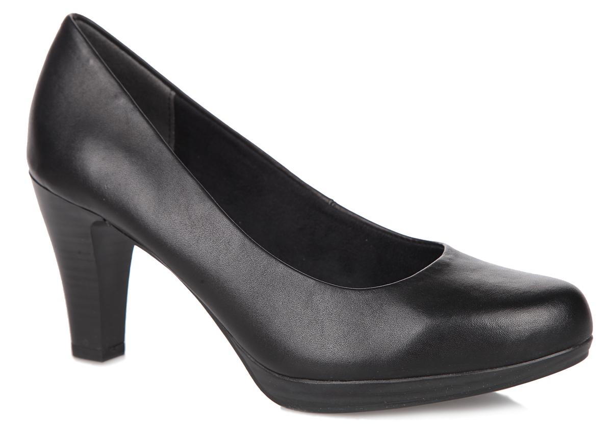 Туфли женские. 2-2-22415-25-0022-2-22415-25-002Элегантные женские туфли от Marco Tozzi займут достойное место в вашем гардеробе. Модель выполнена из натуральной кожи. Мягкая стелька из искусственной кожи обеспечивает максимальный комфорт при движении. Зауженный носок добавит женственности в ваш образ. Высокий каблук, стилизованный под дерево, устойчив. Резиновая подошва с рифленым протектором не скользит. Изысканные туфли добавят шика в модный образ и подчеркнут ваш безупречный вкус.