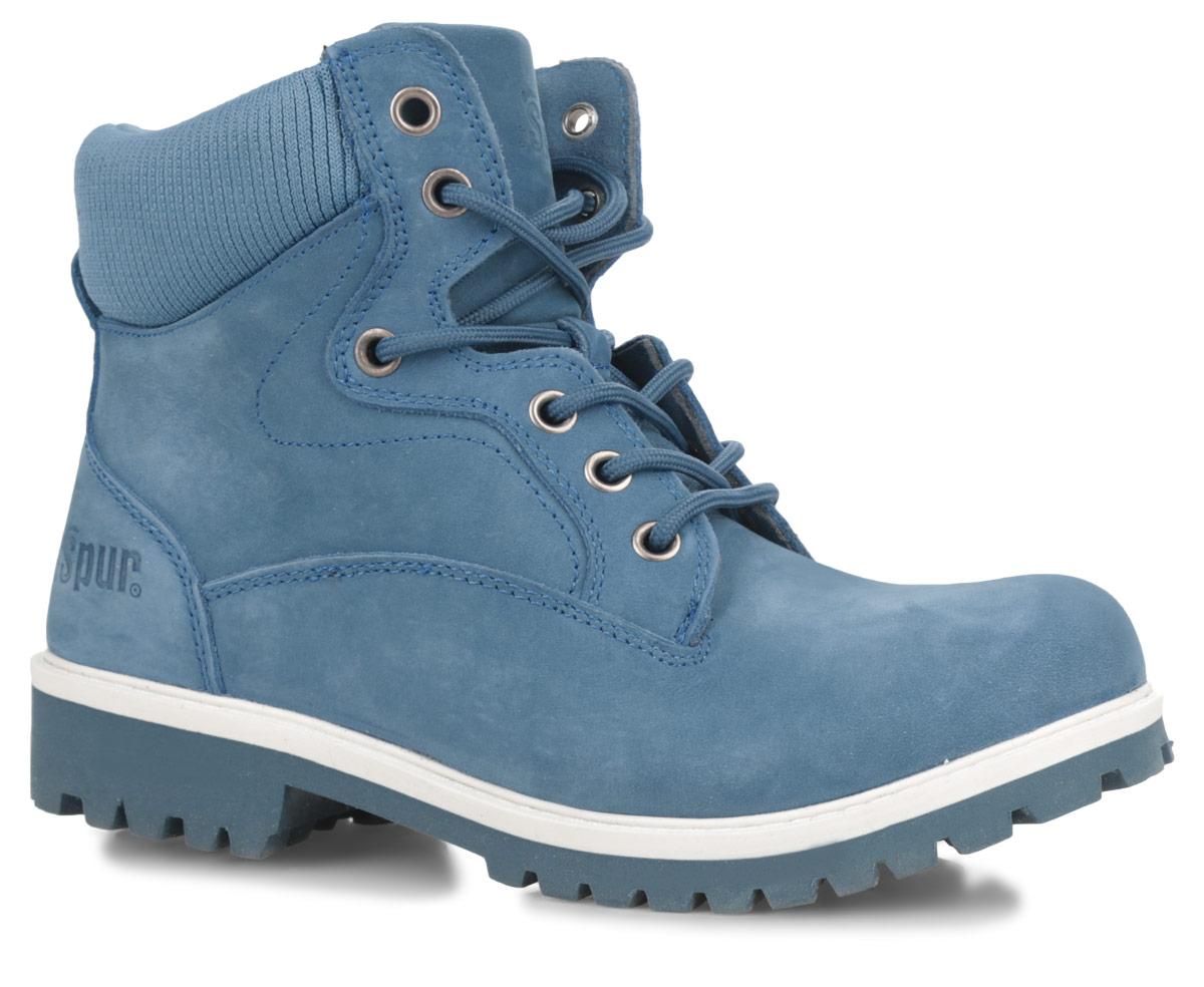 SM1515_62_59Оригинальные женские ботинки от Spur заинтересуют вас своим дизайном. Модель выполнена из натуральной кожи и оформлена вдоль канта текстильной вставкой. Подкладка и стелька из шерсти сохраняют тепло, обеспечивая максимальный комфорт при движении. Шнуровка обеспечивает надежную фиксацию обуви на ноге. Резиновая подошва с рельефным протектором обеспечивает отличное сцепление на любой поверхности. В таких ботинках вашим ногам будет комфортно и уютно.