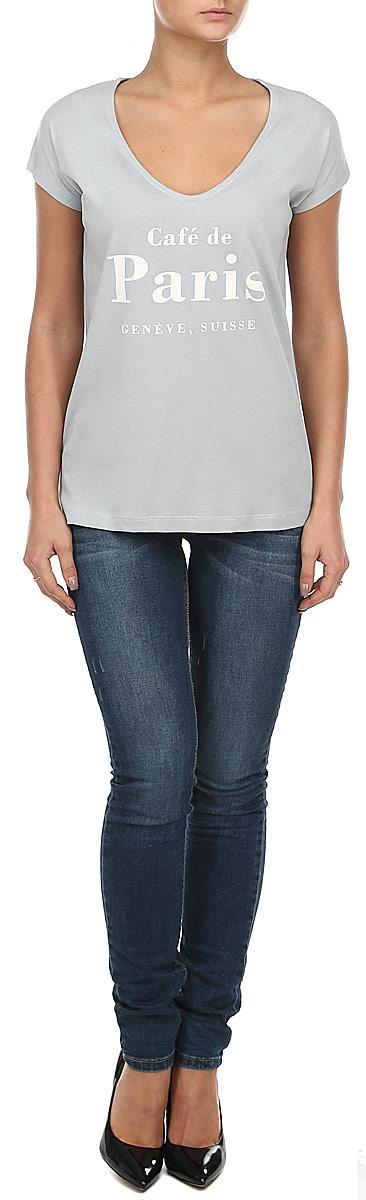 Футболка10152869_01BСтильная женская футболка Broadway, выполненная из натурального хлопка, прекрасно подойдет для повседневной носки. Материал очень мягкий и приятный на ощупь, не сковывает движения и позволяет коже дышать. Футболка прямого кроя с короткими рукавами-кимоно имеет V-образный вырез горловины. Изделие оформлено принтовыми надписями. Такая модель будет дарить вам комфорт в течение всего дня и станет модным дополнением к вашему гардеробу.
