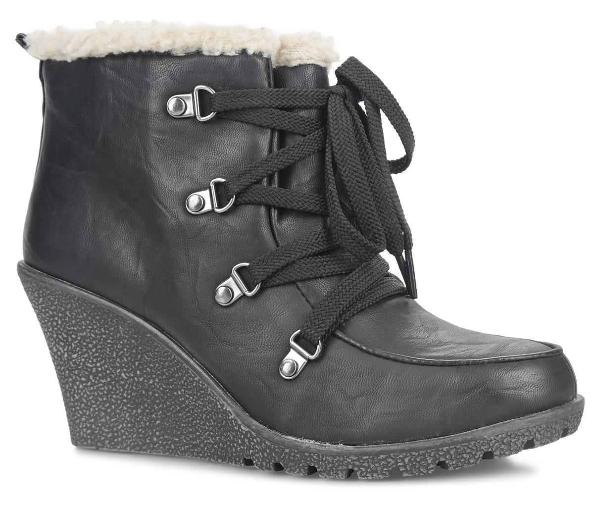 Ботильоны. SW6_B11657SW6_B11657Оригинальные женские ботильоны от Spur заинтересуют вас своим дизайном с первого взгляда! Модель выполнена из искусственной кожи. Подкладка и стелька, изготовленные из искусственной шерсти, защитят ноги от холода и обеспечат комфорт. Шнуровка надежно зафиксирует обувь на ноге. Вдоль канта ботильоны оформлены искусственным мехом. Резиновая подошва с рельефным протектором обеспечивает отличное сцепление на любой поверхности. В этих ботильонах вашим ногам будет комфортно и уютно.
