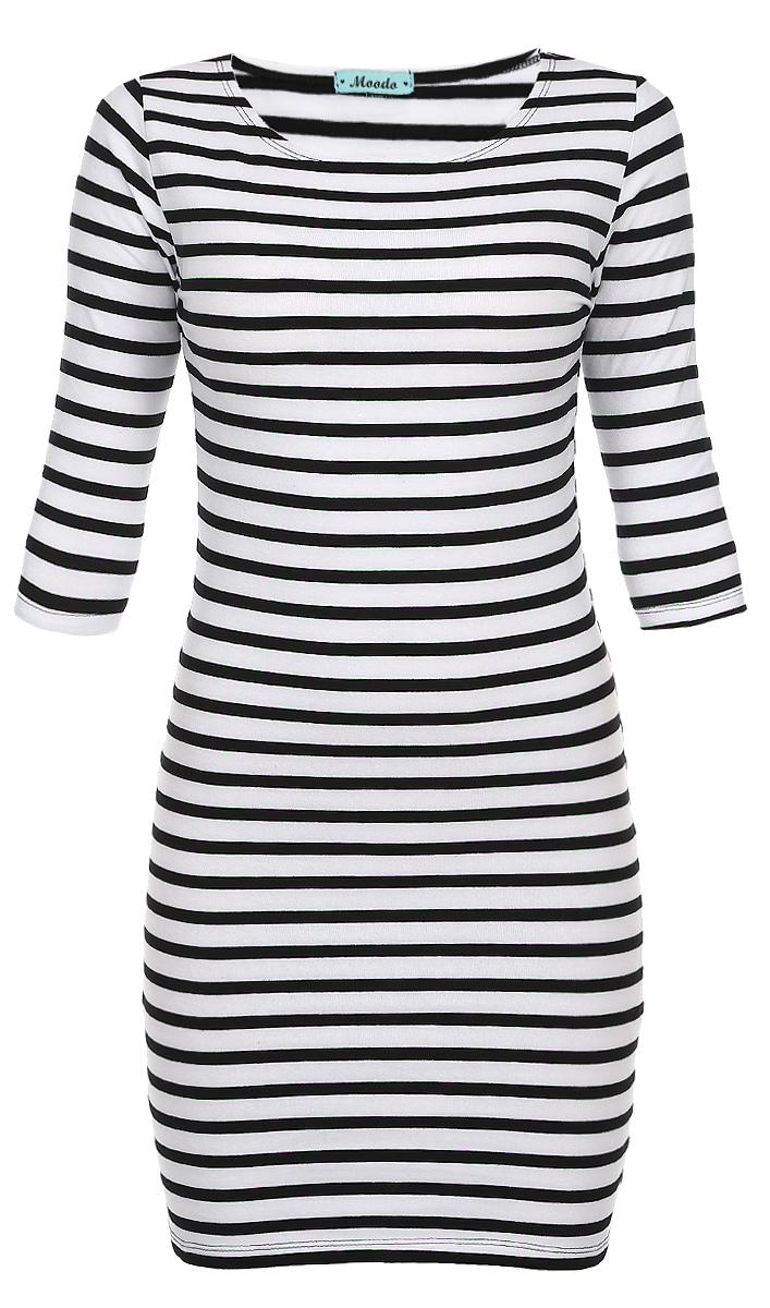 Платье. Z-SU-1803Z-SU-1803 WHITEЯркое удобное повседневное платье Moodo это изящная простота, которая остается актуальной и в современном мире высоких технологий. Платье выполнено из мягкого тонкого эластичного хлопка. Платье имеет длину до колен и облегает фигуру. По поверхности всего изделия полосатый принт. С помощью такого платья можно легко создать уникальный образ в стиле casual. Неглубокий овальный вырез горловины открывает ключицы, что делает образ более утонченным и нежным. Платье станет прекрасным выбором для прогулок у моря.