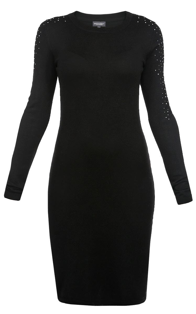 Платье10153129 833Стильное трикотажное платье Broadway, выполненное из высококачественного материала, будет отлично на вас смотреться. Модель полуоблегающего кроя с длинными рукавами и круглым вырезом горловины. Вырез горловины, манжеты и низ кофты выполнены вязкой резинка. Плечо и верхняя часть рукава оформлены стразами и металлическими клепками. Классический покрой, лаконичный дизайн, безукоризненное качество. Идеальный вариант для тех, кто ценит комфорт и качество.