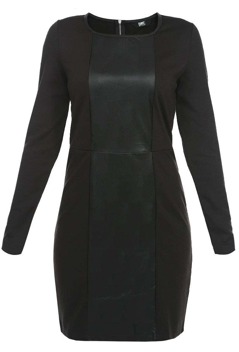 Платье60101961 999Стильное платье Broadway сделает вас неотразимой в будни и в праздники. Платье с длинными рукавами, выполнено из мягкого трикотажа. . Лицевая сторона модели по всей длине оформлена вставкой из искусственной кожи. Неглубокий овальный вырез горловины обработан кожаной окантовкой. На спинке вдоль лопаток расположена металлическая молния. Любая женщина в этом платье будет чувствовать себя модной и стильной.