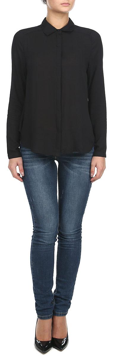 Блузка10153169 001Воздушная женская блузка Broadway, изготовленная из полупрозрачной вискозы, не сковывает движения, обеспечивая наибольший комфорт. Блузка полуприлегающего силуэта с длинными рукавами, отложным воротничком и полукруглым низом спереди застегивается на пластиковые пуговицы по всей длине. Края рукавов снабжены манжетами на пуговицах. Блузка Broadway - идеальный выбор для создания нежного женственного образа.