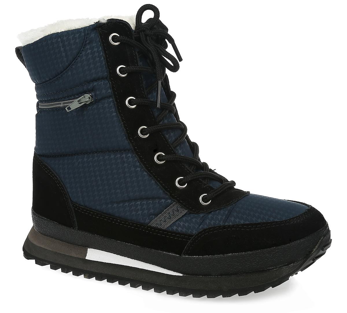 SM2769_52_06Модные женские ботинки от Spur надежно защитят вас от холода. Модель выполнена из прочного текстиля и оформлена оригинальным узором, сбоку - декоративной молнией, на язычке - фирменной нашивкой. Шнуровка надежно фиксирует изделие на ноге. Текстильная петля на заднике облегчает надевание обуви. Съемная стелька EVA с поверхностью из искусственного меха обеспечивает превосходную амортизацию и максимальный комфорт. Утолщенная подошва с протектором гарантирует идеальное сцепление на любой поверхности. Такие ботинки отлично подойдут для повседневного использования. Они подчеркнут ваш стиль и индивидуальность.