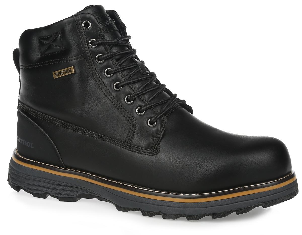 Ботинки мужские. 432-880IM-16w-01-1432-880IM-16w-01-1Модные мужские ботинки от Patrol займут достойное место среди вашей коллекции обуви. Модель выполнена из искусственной кожи и оформлена крупной прострочкой вдоль ранта, на подошве - вставкой контрастного цвета, на шнурках - оригинальным плетением, на язычке - нашивкой с названием бренда, сбоку - фирменной металлической пластиной. Ярлычок на заднике облегчает надевание обуви. Шнуровка надежно фиксирует изделие. Подкладка из искусственного меха сохранит ваши ноги в тепле. Съемная стелька EVA с поверхностью из искусственного меха обеспечит комфорт и амортизацию. Подошва с протектором отвечает за отличное сцепление с поверхностью. Такие ботинки отлично подойдут для повседневного использования. Они подчеркнут ваш стиль и индивидуальность.