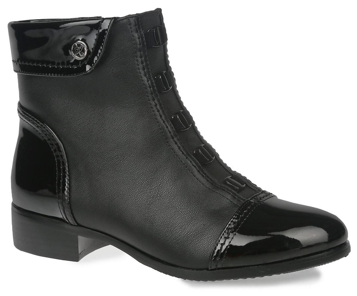 Ботинки женские. 35-76-05A35-76-05AУльтрамодные ботинки от Makfly займут достойное место в вашем гардеробе. Модель выполнена из искусственной кожи со вставками из искусственного лака. Верх изделия оформлен декоративным отворотом, подъем - металлическими пластинами оригинальной формы. Ботинки застегиваются на боковую застежку-молнию. Резинка, расположенная на подъеме, отвечает за оптимальную посадку изделия на ноге. Мягкая подкладка и стелька из байки сохраняют тепло, обеспечивая максимальный комфорт при движении. Невысокий каблук устойчив. Рифленая поверхность каблука и подошвы защищает изделие от скольжения.