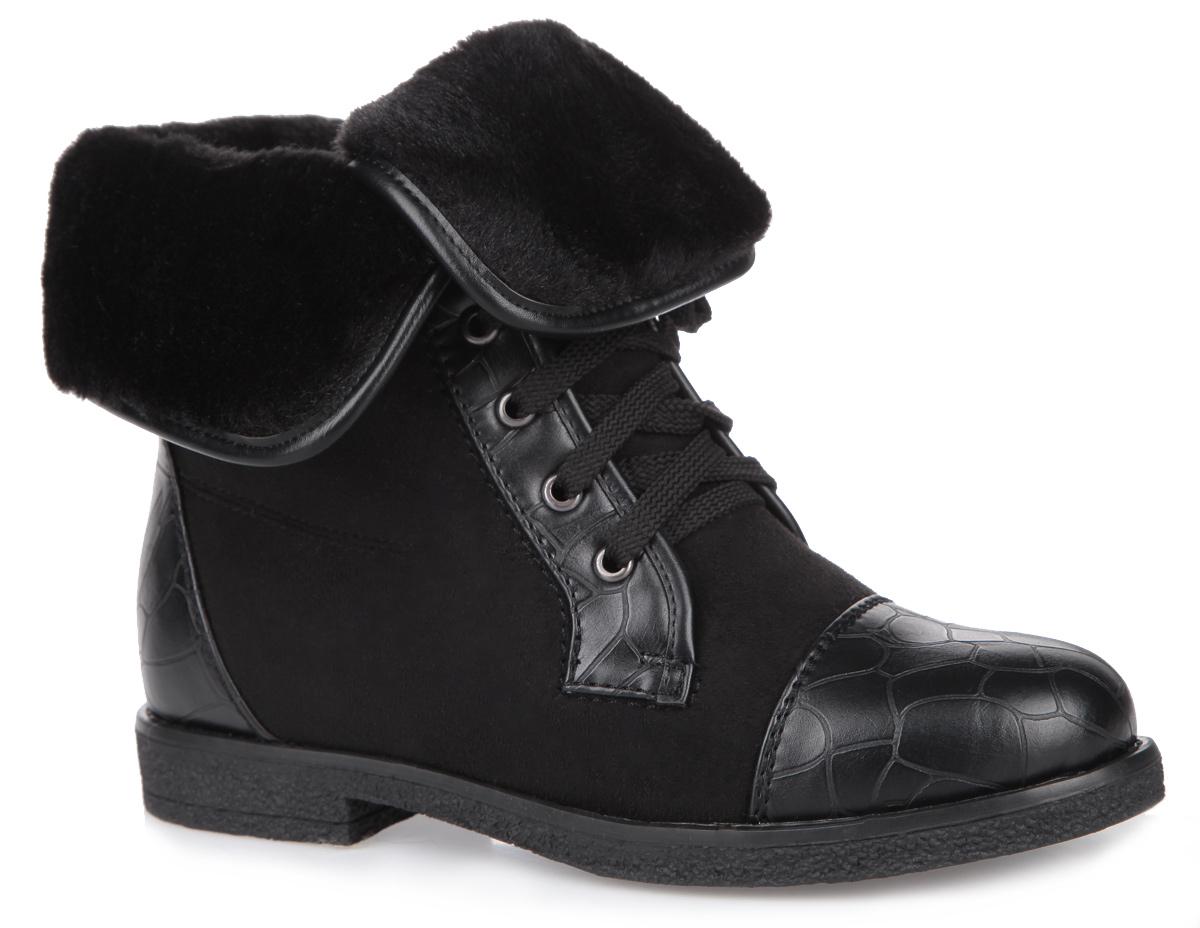 Ботинки женские. 35-58-04A35-58-04AОригинальные женские ботинки от Makfly заинтересуют вас своим дизайном с первого взгляда! Модель, выполненная из искусственного велюра со вставками из искусственной кожи с тиснением под рептилию, декорирована меховыми отворотами. Подкладка и стелька, изготовленные из искусственного меха, защитят ноги от холода и обеспечат комфорт. Шнуровка надежно зафиксирует обувь на ноге. Подошва с рельефным протектором обеспечивает отличное сцепление на любой поверхности. В этих ботинках вашим ногам будет комфортно и уютно.