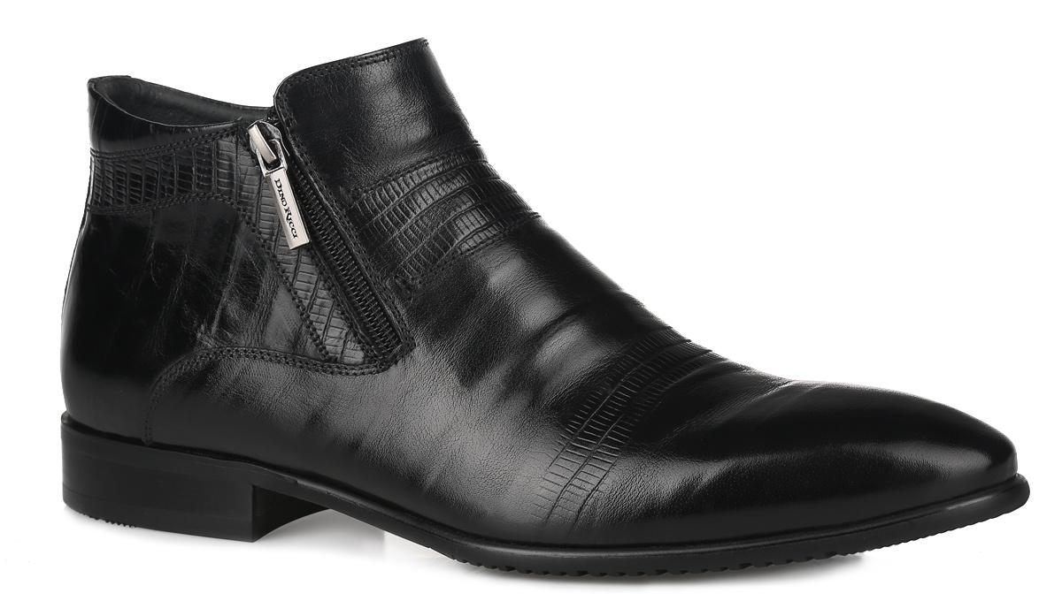 Ботинки мужские. 104-110-53(T)104-110-53(T)Стильные мужские ботинки от Dino Ricci - отличный вариант на каждый день. Модель выполнена из натуральной кожи с декоративным тиснением. Ботинки застегиваются на застежки-молнии, расположенные по бокам союзки. Подкладка и стелька, выполненные из текстиля, комфортны при ходьбе. Низкий каблук и подошва с рельефным протектором защищает изделие от скольжения. Модные и удобные ботинки займут достойное место среди вашей коллекции обуви!