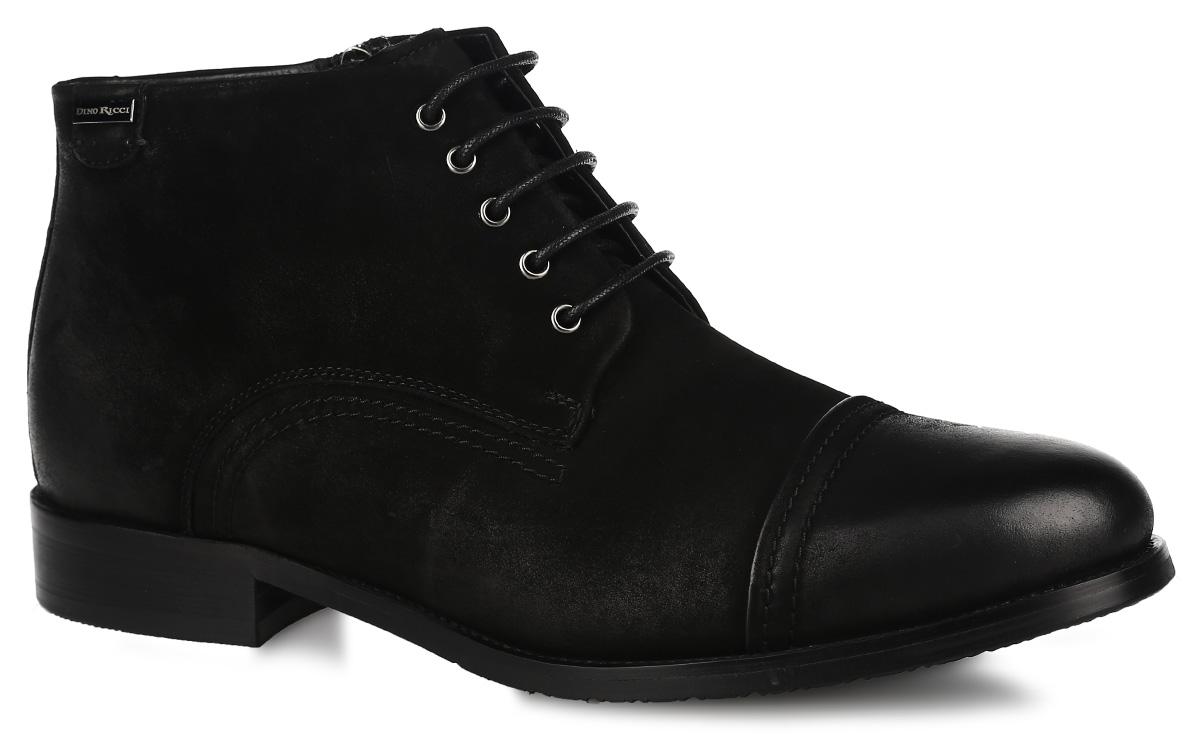 Ботинки мужские. 110-75-02(M)110-75-02(M)Стильные мужские ботинки от Dino Ricci - отличный вариант на каждый день. Модель выполнена из натуральной кожи и оформлена прострочкой вдоль ранта. Застегиваются ботинки на боковую застежку-молнию. Шнуровка прочно фиксирует модель на ноге. Подкладка и стелька, выполненные из натурального меха, не дадут вашим ногам замерзнуть. Каблук и подошва с рельефным протектором защищает изделие от скольжения. Модные и удобные ботинки займут достойное место среди вашей коллекции обуви!