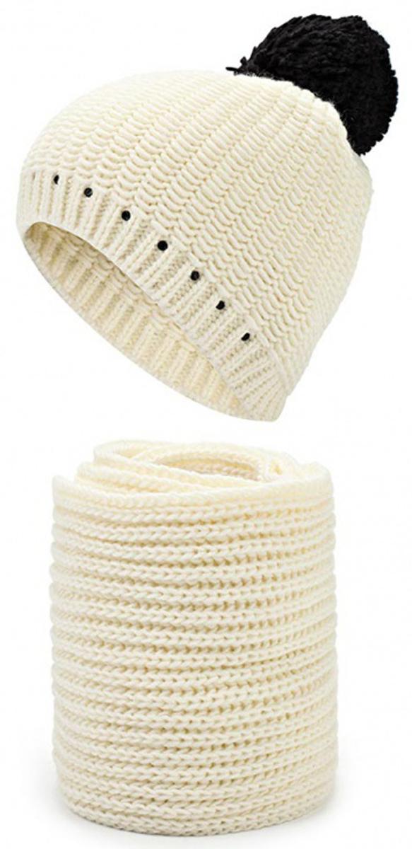 Комплект женский: шапка, шарф. 2/7123S2/7123S-11/18Стильный комплект из шапки и шарфа Flioraj - великолепное решение для холодной погоды. Шарф и шапка выполнены из высококачественной акриловой пряжи с добавлением шерсти, что позволяет им великолепно сохранять тепло, а также обеспечивает высокую износостойкость. Низ шапки связан резинкой. Шапка оформлена объемным помпоном и мелкими контрастными стразами по нижнему краю. Уютный длинный шарф украшен двумя контрастными помпонами на концах. Такой комплект станет модным и стильным дополнением вашего зимнего гардероба. Он согреет вас и позволит вам подчеркнуть свою индивидуальность! Уважаемые клиенты! Размер, доступный для заказа, является обхватом головы.
