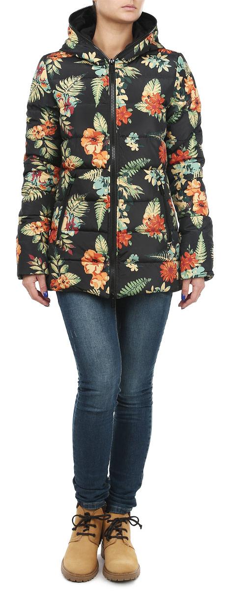Куртка10131050 990Яркая и стильная женская куртка Broadway согреет вас в прохладное время года. Модель с длинными рукавами и несъемным капюшоном имеет наполнитель из натурального пуха и пера, который обеспечивает надежное сохранение тепла. Такая куртка не позволит вам замерзнуть даже в морозные дни. Модель застегивается на застежку-молнию, которая продолжается по краю капюшона. Куртка дополнена двумя втачными карманами на молниях спереди и одним внутренним карманом на липучке. Рукава оснащены внутренними трикотажными манжетами. Объем низа регулируется при помощи шнурка-кулиски. Куртка оформлена красочным цветочным принтом. Эта модная и в то же время комфортная куртка - отличный вариант для прогулок, она подчеркнет ваш изысканный вкус и поможет создать неповторимый образ.
