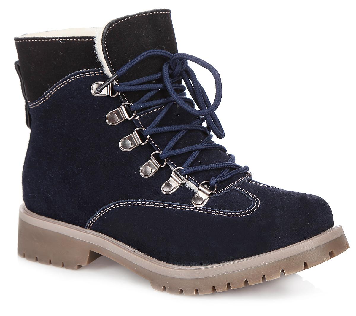 Ботинки женские. 958327/02958327/02-01Оригинальные женские ботинки от Betsy заинтересуют вас своим дизайном с первого взгляда! Модель выполнена из натуральной замши. Подкладка и стелька, выполненные из натуральной шерсти, защитят ноги от холода и обеспечат комфорт. Удобная шнуровка надежно фиксирует модель на стопе. Ярлычок на заднике обеспечивает более удобное обувание модели. Каблук и подошва с рельефным протектором обеспечивает отличное сцепление на любой поверхности. В этих ботинках вашим ногам будет комфортно и уютно.