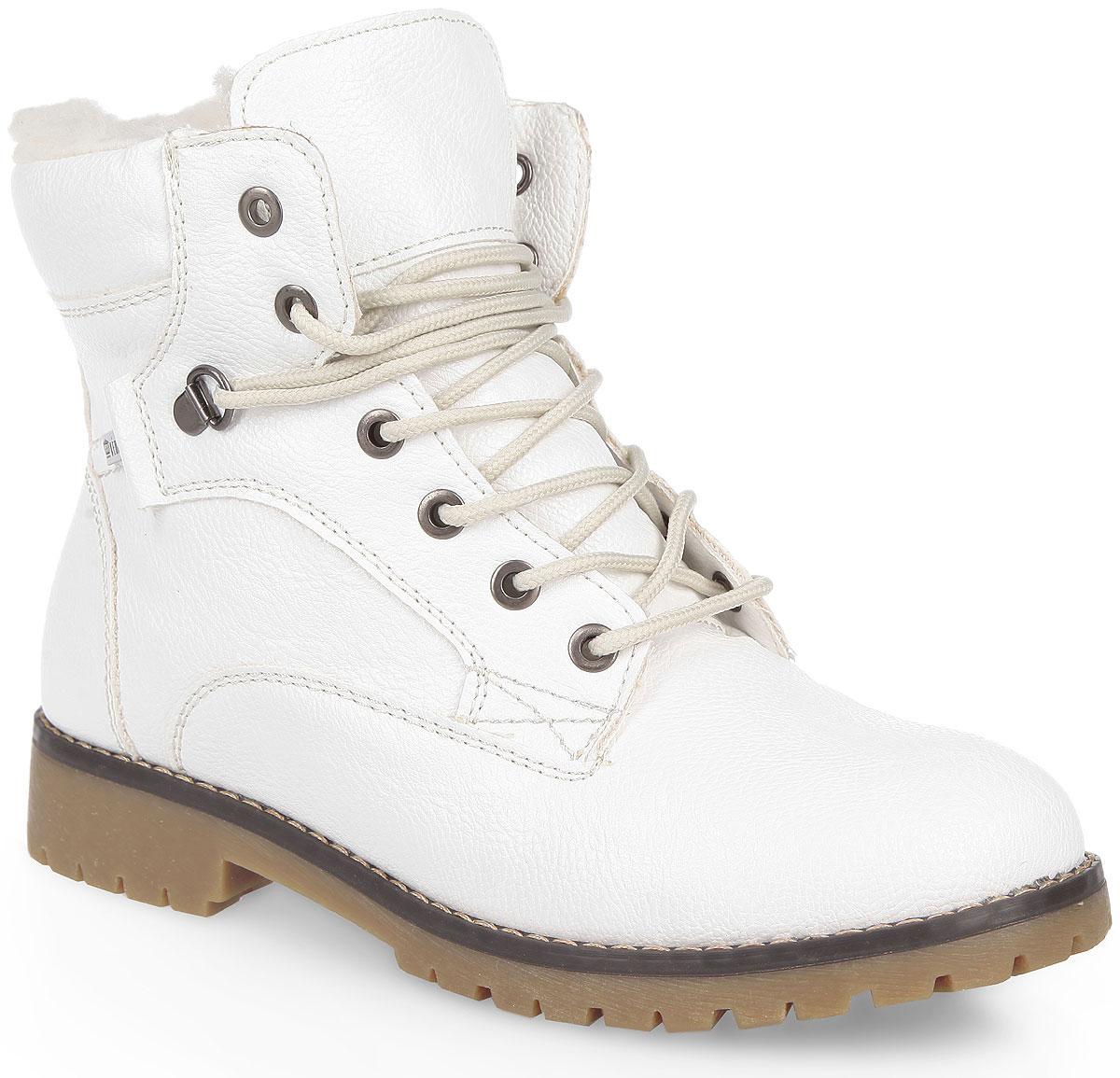 Ботинки женские. 858327/18858327/18-06Стильные женские ботинки от Keddo заинтересуют вас своим дизайном с первого взгляда! Модель выполнена из искусственной кожи и оформлена вдоль ранта крупной прострочкой. Подкладка и стелька, выполненные из натуральной шерсти, обеспечат комфорт и тепло. Удобная шнуровка надежно фиксирует модель на стопе. Каблук и подошва с рельефным протектором обеспечивает отличное сцепление на любой поверхности. В этих ботинках вашим ногам будет комфортно и уютно.