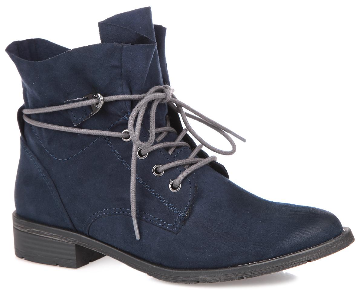 Ботинки женские. 2-2-25100-35-8052-2-25100-35-805Оригинальные женские ботинки от Marco Tozzi - отличный вариант на каждый день. Модель выполнена из высококачественной искусственной замши. Верх дополнен оригинальной высокой шнуровкой вокруг голенища, которая надежно фиксирует модель на ноге и регулирует объем. Подкладка и стелька - из байки, обеспечат комфорт и уют. Умеренной высоты каблук, стилизованный под дерево, устойчив. Подошва с рельефным протектором обеспечивает отличное сцепление на любой поверхности. Модные ботинки покорят вас своим оригинальным дизайном и удобством!