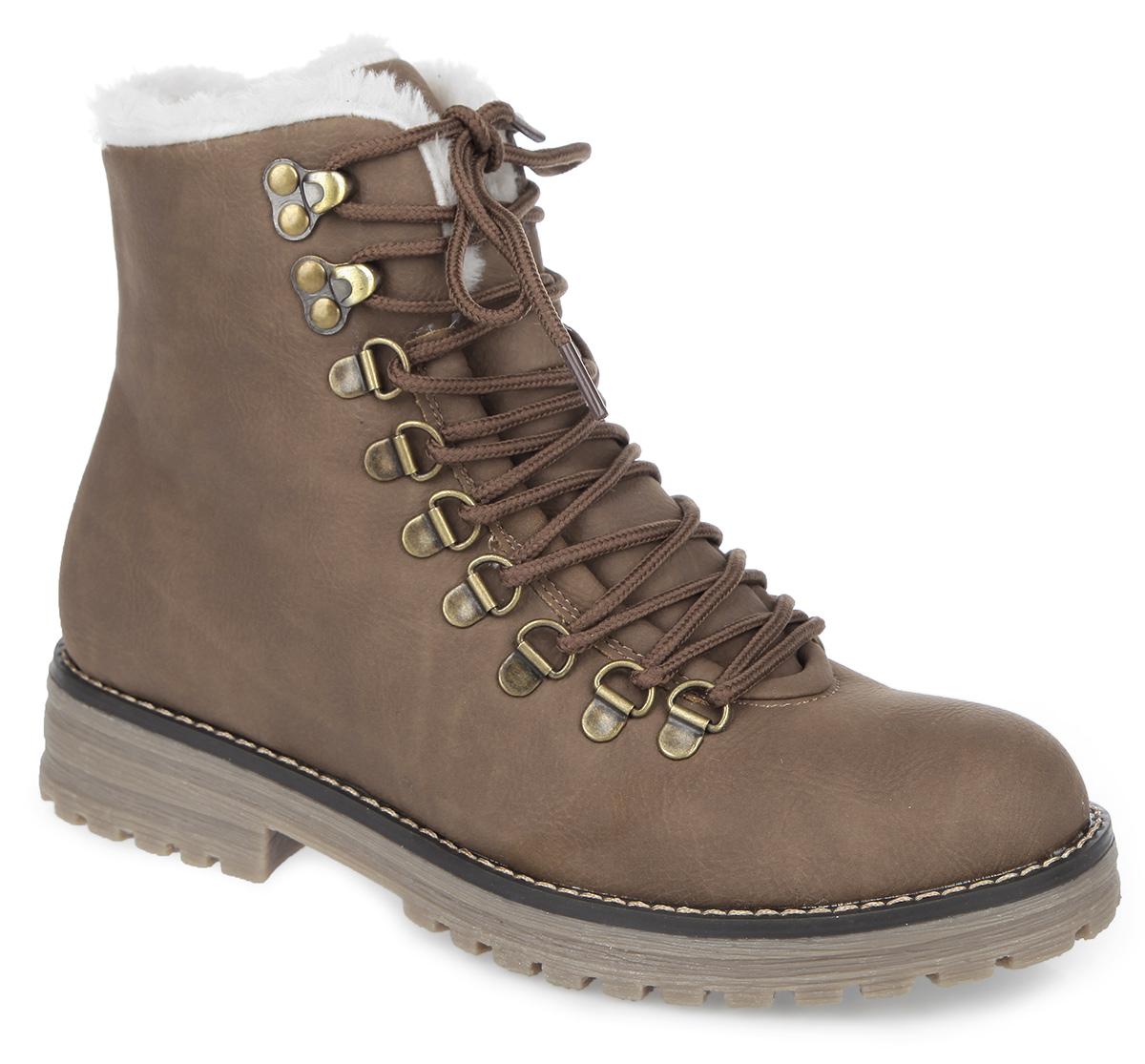 Ботинки женские. 858329/20858329/20-05Стильные женские ботинки от Keddo покорят вас своим удобством. Модель выполнена из искусственного нубука и оформлена прострочкой вдоль ранта. Ботинки застегиваются на боковую застежку-молнию. Шнуровка надежно фиксирует обувь на ноге. Подкладка и стелька, исполненные из искусственного меха, сохранят ваши ноги в тепле. Каблук и подошва с протектором обеспечивают отличное сцепление на любой поверхности. Такие ботинки отлично подойдут для повседневного использования. Они подчеркнут ваш стиль и индивидуальность.