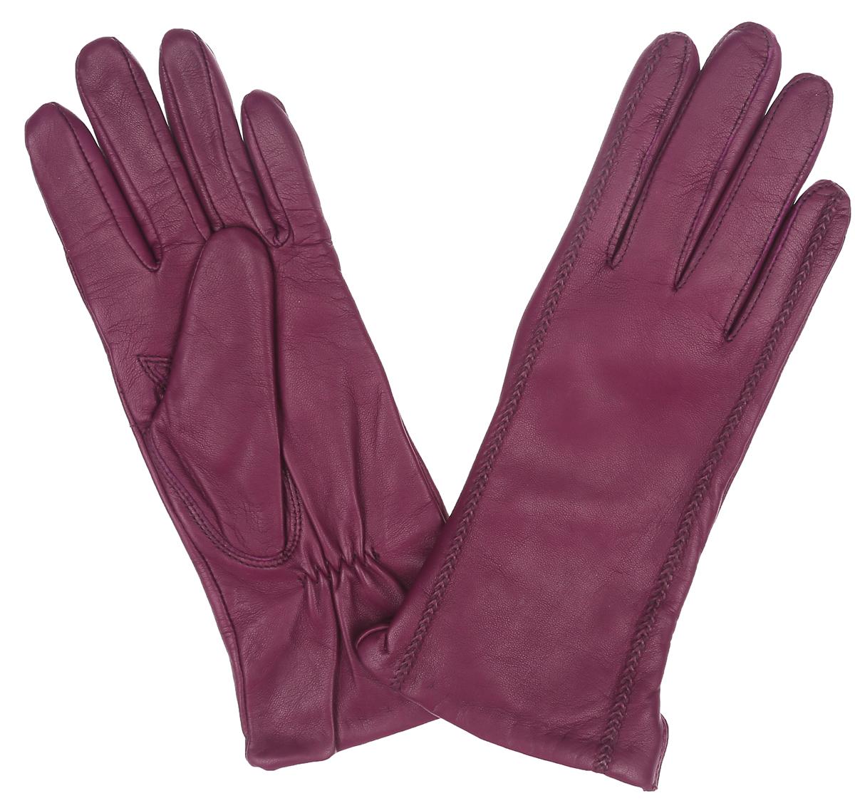 Перчатки женские. IS02804-shIS02804-shКлассические женские перчатки Eleganzza идеально подойдут для модниц с миниатюрными ручками. Перчатки выполнены из необыкновенно мягкой и приятной на ощупь кожи ягненка, а их подкладка - из шерсти с добавлением кашемира. Лицевая сторона оформлена декоративной прострочкой в тон изделия. Тыльная сторона дополнена аккуратным боковым разрезом и резинкой для оптимальной посадки модели на руке. Потрясающие женские перчатки Eleganzza подойдут романтичным особам с тонким вкусом. Но самое главное - они защитят руки от холода и ветра, сохраняя их красоту.