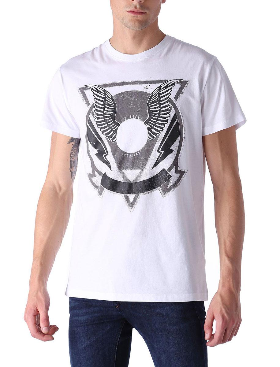 Футболка00SJUN-0091B/100Стильная мужская футболка Diesel - идеальное решение для повседневной носки. Эта практичная, приятная на ощупь модель, выполненная из 100% хлопка, прекрасно пропускающей воздух, она позволит вам чувствовать себя уверенно и легко. Удобный крой обеспечивает свободу движений. Лицевая сторона футболки оформлена принтом с крыльями. Эта футболка - идеальный вариант для создания эффектного образа.