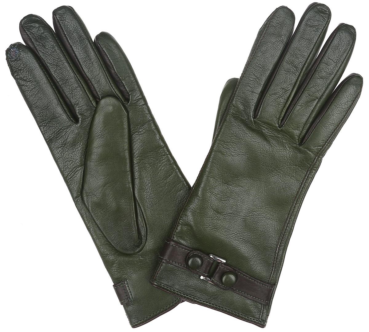 Перчатки женские. TOUCH IS02074TOUCH IS02074Новая модель элегантных перчаток от Eleganzza создана специально для работы с сенсорными экранами. Благодаря наличию на пальцах особой металлизированной нити любыми современными устройствами можно пользоваться, не снимая перчаток. Перчатки выполнены из необыкновенно мягкой и приятной на ощупь натуральной кожи контрастных цветов, а их подкладка - из натуральной шерсти с добавлением кашемира. Лицевая сторона оформлена декоративным ремешком. Тыльная сторона дополнена аккуратным разрезом. Руки в тепле, а вы на связи.