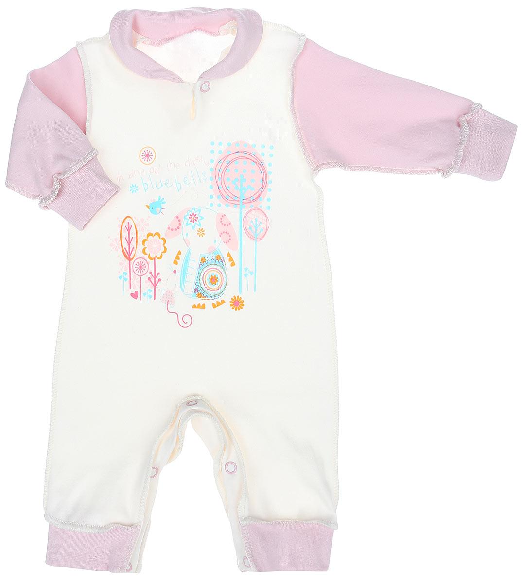 3659Комбинезон для девочки КотМарКот Слоник идеально подойдет вашему ребенку, обеспечивая ему максимальный комфорт. Выполненный из интерлока - натурального хлопка, он очень мягкий на ощупь, не раздражает даже самую нежную и чувствительную кожу ребенка. Комбинезон с длинными рукавами, отложным воротником и открытыми ножками имеет застежки-кнопки спереди и на ластовице, что помогает легко переодеть младенца или сменить подгузник. Рукава и низ брючин дополнены широкими трикотажными манжетами. Спереди модель оформлена принтом с изображением слоника, а также надписями. В таком комбинезоне спинка и ножки младенца всегда будут в тепле, и кроха будет чувствовать себя комфортно и уютно.