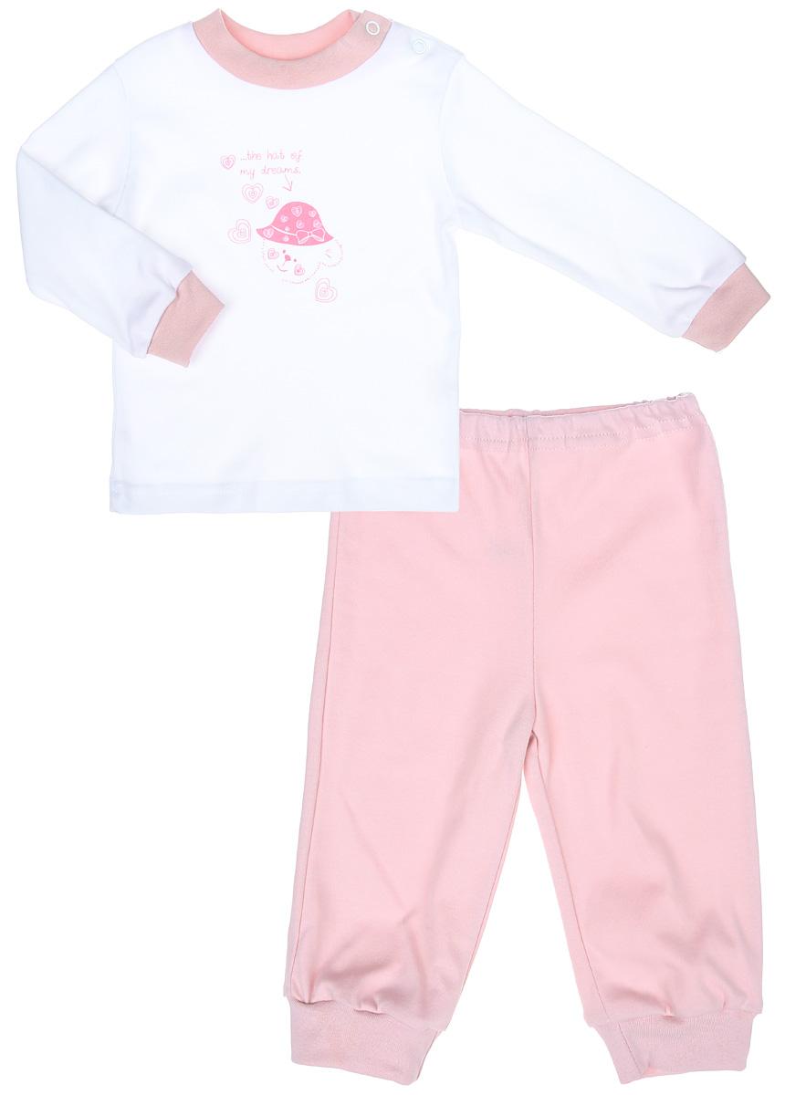 Пижама3275Детская пижама КотМарКот Мишка в шляпе, состоящая из футболки с длинным рукавом и брюк, идеально подойдет вашему ребенку и станет отличным дополнением к его гардеробу. Выполненная из натурального хлопка, она необычайно мягкая и легкая, не сковывает движения, позволяет коже дышать и не раздражает даже самую нежную и чувствительную кожу ребенка. Футболка с длинными рукавами и круглым вырезом горловины имеет застежки-кнопки по плечевому шву, что помогает с легкостью переодеть ребенка. Вырез горловины и манжеты на рукавах дополнены трикотажными эластичными резинками. Модель оформлена нежным принтом с изображением медвежонка, а также надписью. Брюки прямого кроя на талии имеют эластичную резинку, благодаря чему они не сдавливают животик ребенка и не сползают. Низ брючин дополнен широкими трикотажными манжетами. В такой пижаме ваш ребенок будет чувствовать себя комфортно и уютно во время сна.