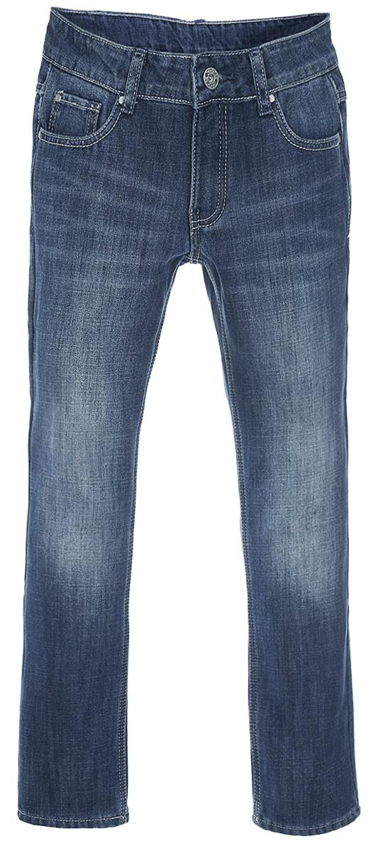 Джинсы для девочки. 354099354099Утепленные джинсы для девочки Scool идеально подойдут вашей маленькой моднице. Изготовленные из хлопка и полиэстера, они необычайно мягкие и приятные на ощупь, не сковывают движения и позволяют коже дышать, не раздражают даже самую нежную и чувствительную кожу ребенка, обеспечивая ему наибольший комфорт. Лицевая сторона гладкая, а изнаночная - с мягким ворсом. Джинсы прямого кроя на поясе застегивается на металлическую пуговицу и имеют ширинку на застежке-молнии, а также шлевки для ремня. При необходимости пояс можно утянуть скрытой резинкой на пуговках. Джинсы имеют классический пятикарманный крой: спереди - два втачных кармана и один маленький накладной, а сзади - два накладных кармана. Джинсы оформлены прострочкой, перманентными складками и эффектом потертости. Декорированы джинсы оригинальными металлическими клепками. Современный дизайн и расцветка делают эти джинсы модным и стильным предметом детского гардероба. В них ваша дочурка всегда будет в центре внимания!