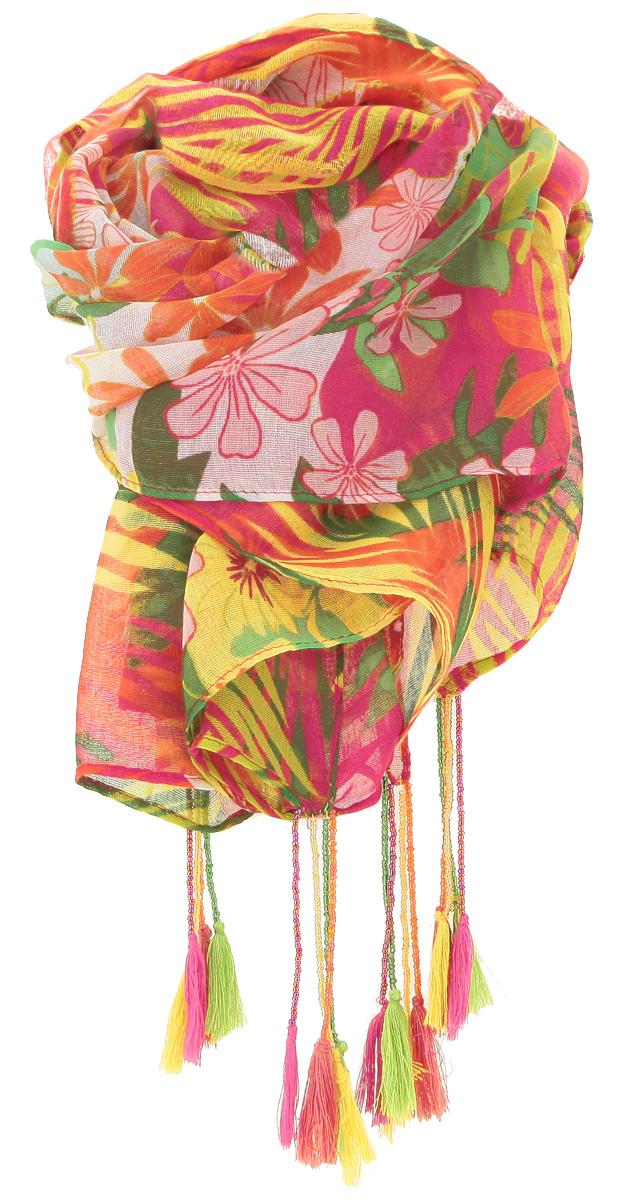 ПлатокRS-0009-1Стильный женский платок Laura Milano станет великолепным завершением любого наряда. Платок изготовлен из высококачественной вискозы с добавлением шелка. Он оформлен красочным цветочным принтом и дополнен украшенными бисером жгутиками на уголках. Классическая квадратная форма позволяет носить платок на шее, украшать им прическу или декорировать сумочку. Мягкий и шелковистый платок поможет вам создать изысканный женственный образ, а также согреет в непогоду. Такой платок превосходно дополнит любой наряд и подчеркнет ваш неповторимый вкус и элегантность.