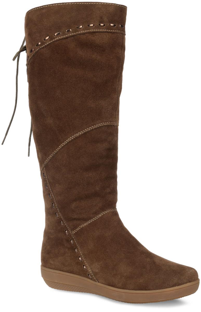 Сапоги женские. 33-BD-03 K33-BD-03 KСтильные сапоги от Wilmar займут достойное место среди вашей коллекции обуви. Модель выполнена из натурального спилока и натурального велюра. Обувь оформлена крупными декоративными стежками. Сапоги застегиваются на застежку-молнию, расположенную на одной из боковых сторон. Верх голенища дополнен шнуровкой. Подкладка и стелька из натурального меха подарят вашим ногам тепло и уют. Подошва с рифлением защищает изделие от скольжения. Модные и удобные сапоги - необходимая вещь в гардеробе каждой женщины.