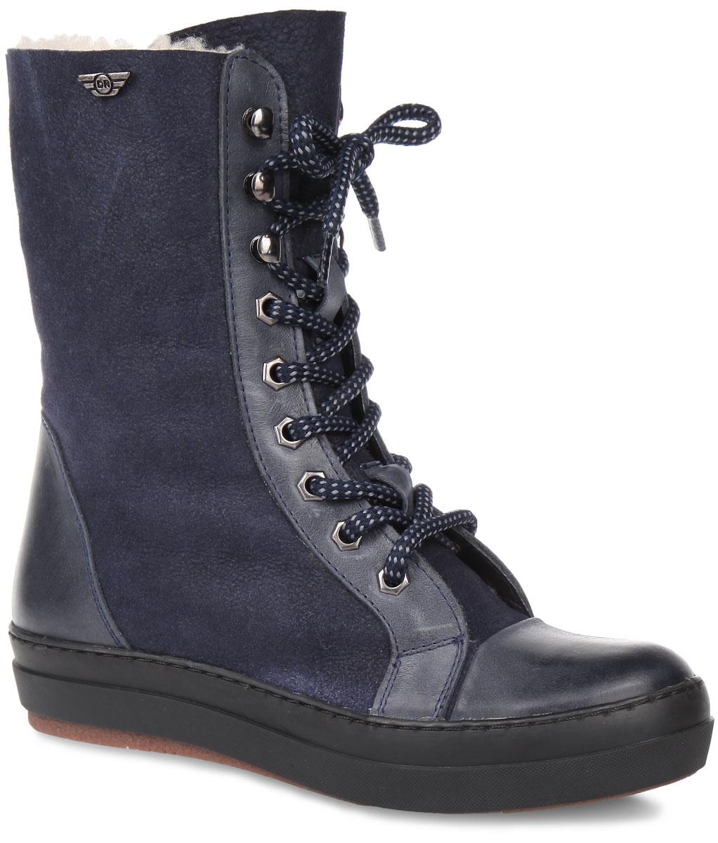 Ботинки женские. 828-59828-59-01(M)Высокие женские ботинки от Dino Ricci покорят вас своим удобством. Модель выполнена из натуральной кожи и оформлена оригинальным плетением на шнурках, на голенище - фирменной металлической пластиной. Шнуровка прочно зафиксирует обувь. Подкладка и стелька из натурального меха сохранят ваши ноги в тепле. Утолщенная подошва с рифлением защищает изделие от скольжения. В таких ботинках вашим ногам будет комфортно и уютно. Они подчеркнут ваш стиль и индивидуальность.