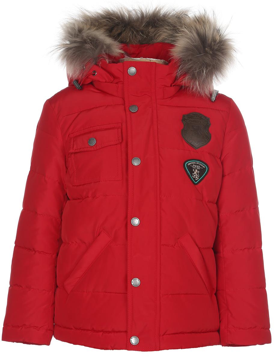 Куртка для мальчика. PUFWB-516-10104PUFWB-516-10104-309Стильная куртка для мальчика Pulka идеально подойдет для ребенка в холодное время года. Модель выполнена из полиэстера с утеплителем Shelter - 100% микроволокна полиэстера, а также с добавлением пуха и пера. Shelter - утеплитель, состоящий из полиэфирных микроволокон, удачно сочетает непревзойденное тепло натурального пуха и лучшие качества синтетических материалов. Его уникальность состоит в особенности структуры, повторяющей пух. Ультратонкие волокна делают утеплитель мягким, позволяющим ребенку активно двигаться. Изделие легко стирается, быстро сохнет и сохраняет форму. Куртка с капюшоном застегивается на пластиковую застежку-молнию и дополнительно имеет внутреннюю и внешнюю ветрозащитные планки и защиту подбородка в виде текстильного уголочка. Внешняя планка застегивается на кнопки. Капюшон, декорированный опушкой из натурального меха енота, пристегивается к куртке при помощи молнии. По краю он снабжен скрытой резинкой со стопперами. Низ рукавов дополнен ...