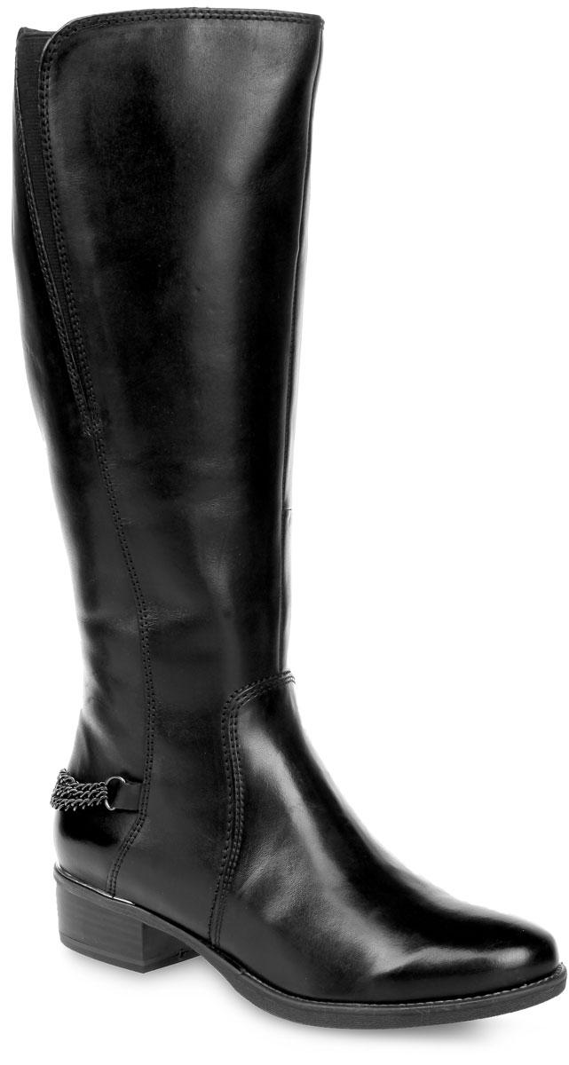 1-1-26544-25-001Стильные женские сапоги от Tamaris покорят вас с первого взгляда. Модель выполнена из мягкой натуральной кожи и украшена металлическими цепочками. Сапоги застегиваются на боковую застежку-молнию. Мягкая стелька из натурального меха принимает форму стопы и обеспечивает оптимальный комфорт. Подкладка из натурального меха и байки согреет ваши ноги в холодную погоду. Стрейчевая вставка, расположенная на голенище, обеспечивает оптимальную посадку модели на ноге. Средней высоты каблук оснащен амортизатором. Подошва с рифлением защищают изделие от скольжения. Элегантные сапоги подчеркнут ваш стиль и яркую индивидуальность. В них вы всегда будете чувствовать себя уютно и комфортно!