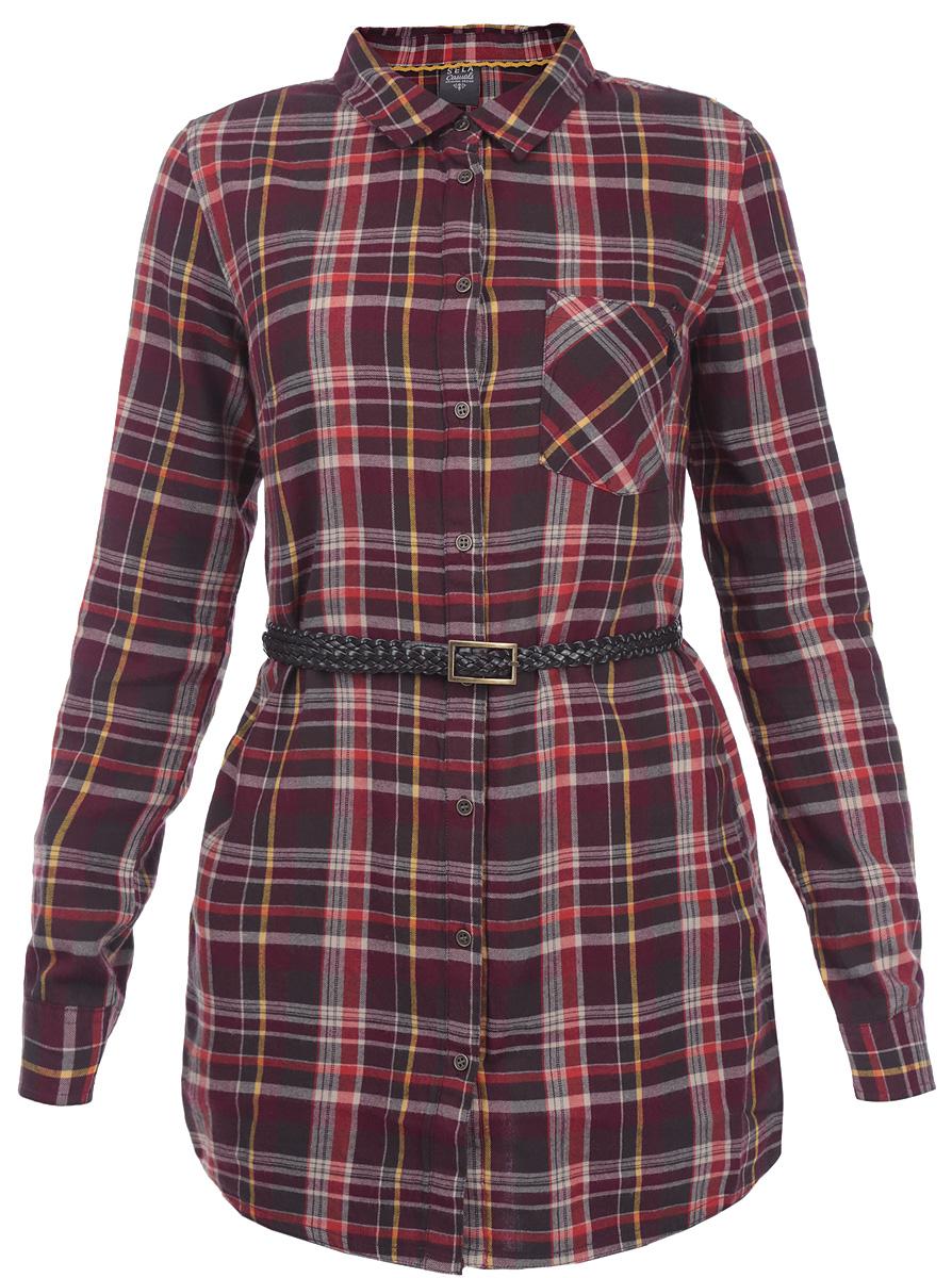 Рубашка женская. TKw-112/593-5444TKw-112/593-5444Удлиненная женская рубашка Sela, выполненная из хлопка, приятная на ощупь, не сковывает движения и позволяет коже дышать. Рубашка оформлена ярким клетчатым принтом, накладным карманом и оригинальным ремешком из искусственной кожи. Модель прямого кроя с длинными рукавами, отложным воротником и застежкой на пуговицы. Эта модная и удобная рубашка послужит замечательным дополнением к вашему гардеробу.