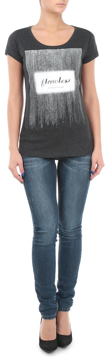 Футболка женская. 10153650 82B10153650_82BСтильная женская футболка Broadway, выполненная из хлопка с добавлением вискозы, станет прекрасным дополнением к вашему гардеробу. Материал очень мягкий и приятный на ощупь, хорошо вентилируется. Футболка слегка приталенного кроя с короткими рукавами имеет круглый вырез горловины, дополненный трикотажной резинкой. Изделие оформлено оригинальным принтом. Такая модель будет дарить вам комфорт в течение всего дня и послужит модным и практичным предметом гардероба.